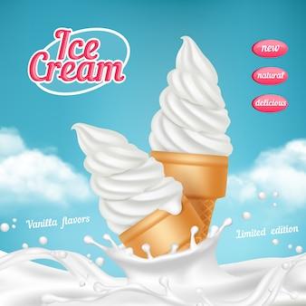 Реклама мороженого. натуральный замороженный десерт из мороженого с фруктами. реалистичная картинка-шаблон для рекламного плаката.