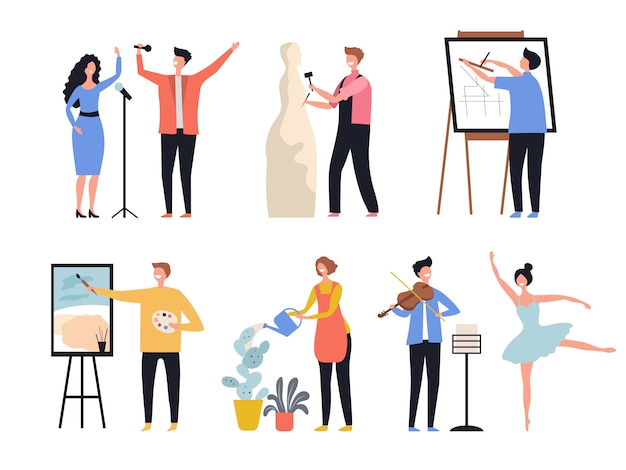 Творческая профессия. хобби художников, художников, скульпторов, декораторов, творческих работников, персонажей.