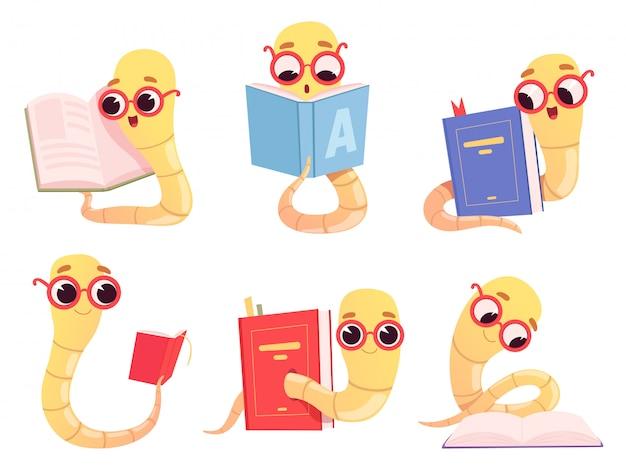 Книжные черви мультфильм. обратно в школу чтение книг библиотека символов червь счастливый умный ребенок животных иллюстрации