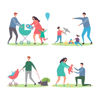 子供と犬との幸せな家族。母親と父親が歩いて、都市公園の図に子供たちと遊ぶ