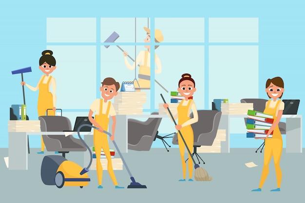 Команда уборщиков в офисе иллюстрации