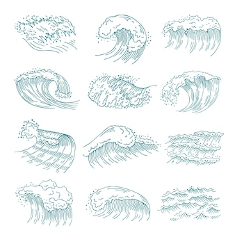 さまざまなしぶきを持つ海洋の波のモノクロ写真セット。