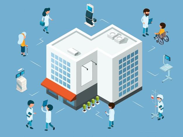 Концепция больницы. изометрические врачи, медицинское оборудование и пациенты. современная больница иллюстрация