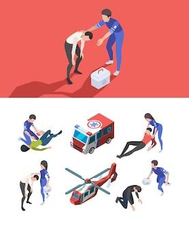 Скорая помощь личная. реанимация медработников персонажей здравоохранения изометрия медикаменты автомобили