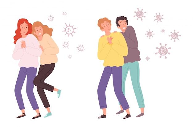 Люди боятся вирусов. микробы нападают на парней и девушек. бактерии летают на иллюстрации взрослых или подростков