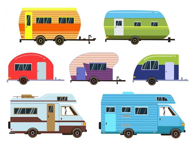 キャンピングカー車セット。さまざまなリゾートの予告編。フラットスタイルのベクトル写真