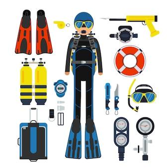 水中スポーツのための機器。ガス、スキューバウェットスーツ、足ひれ