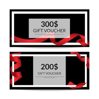 Шаблоны подарочных сертификатов с красной лентой
