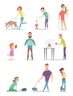動物の飼い主。若い男性と女性の所有者と幸せな家庭用ペット動物猫犬漫画を歩く