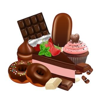 チョコレートデザートコレクション。現実的なカップケーキ、ケーキ、艶をかけられたドーナツ、チョコレートバーの図