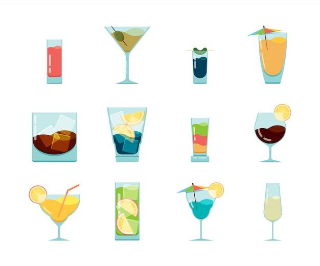 カクテルアイコン。アルコールのサマーパーティードリンクグラスキューバリブレコスモポリタンウォッカモヒートアイコンコレクション