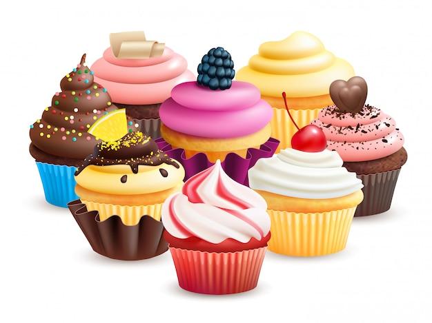 フルーツ、クリーム、チョコレート、チェリーのイラストが現実的なカップケーキ