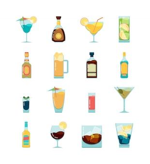 Коктейль алкогольный значок. водка мартини и разные алкогольные летние напитки плоские картинки