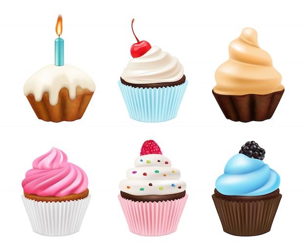 カップケーキのデザート。お菓子のマフィンとクリームとチョコレートケーキのリアルな写真コレクション