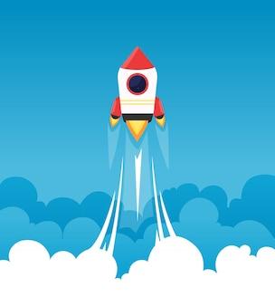 スタートアップの背景。ふわふわの曇り空のロケットは、打ち上げスタートアッププロジェクトの月のビジネスコンセプトに行く