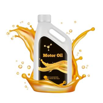 Бутылка моторного масла. золотые брызги масла на белом фоне