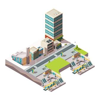 Городское метро. городская ландшафтная инфраструктура со зданиями и поперечным сечением железнодорожного метро низкополигональная изометрическая