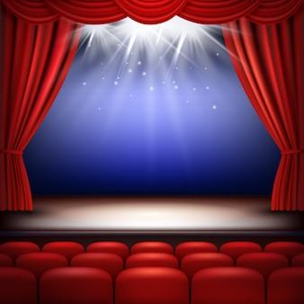 Театральная сцена. праздничный фон для зрителей оперного кино с красными шелковыми шторами и реалистичными сидениями для аудитории