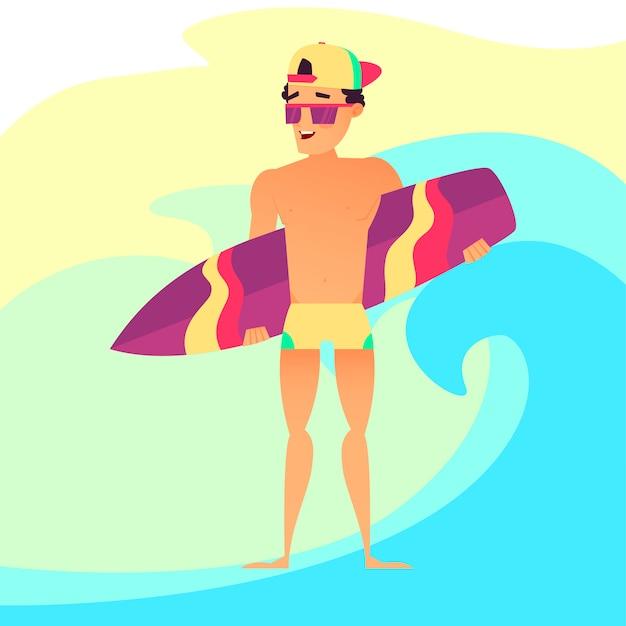 サーフィン夏休み、サーフボードを抱えたサーファー男。漫画のスタイル