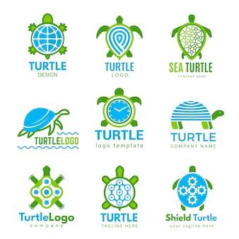 Черепаха логотип. океан диких животных стилизованные символы тату с черепахой деловой идентичности