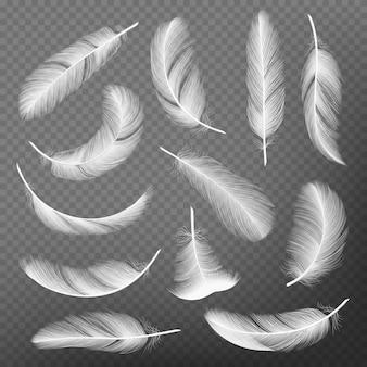 Перья реалистичные. оперение, детализирующее коллекции лебедей легкости и воздушности