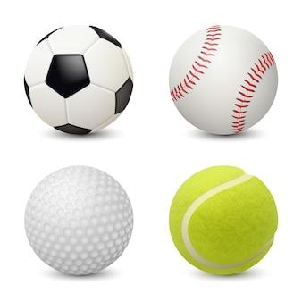 Спортивные мячи. бейсбол футбол теннис гольф реалистичное спортивное снаряжение