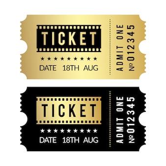 ゴールデンチケットセット。映画館、劇場、パーティー、美術館、イベント、コンサートの金と黒のチケットテンプレート