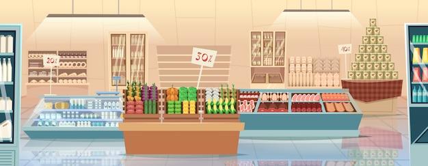 スーパーマーケットの漫画。製品食料品店の食品市場のインテリアの背景