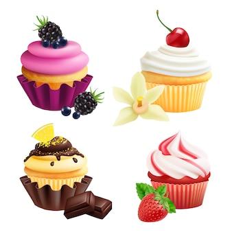 カップケーキコレクション。クリーム、フルーツ、バニラ、チョコレートの現実的なマフィン。白い背景の上のカップケーキ