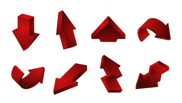 赤い矢印のコレクション。白い背景の上の矢印をリサイクルダウン