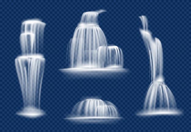 滝。水しぶきで流れる水のカスケードと高速で透明な自然なリアルな滝をドロップ