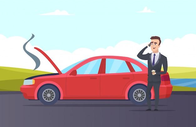 車の故障。道路援助の漫画イラスト。ビジネスマンは車の修理サービスが必要