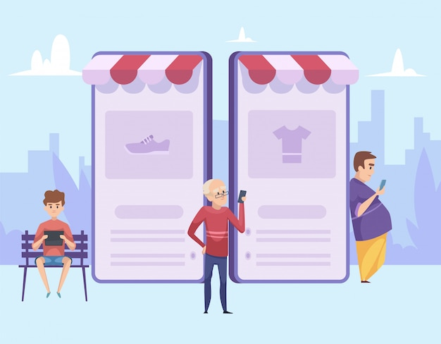 Мужской шоппинг. интернет-магазины иллюстрации. мультяшный мужчины со смартфонами