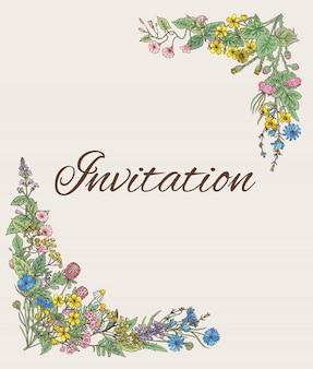Шаблон для приглашения. открытка с декором из рисованной травы и цветов
