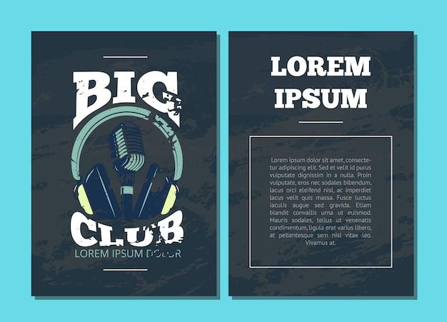 カラオケクラブ、マイクとグランジテクスチャイラストのヘッドフォンとオーディオレコードスタジオのロゴのベクトルカードチラシ