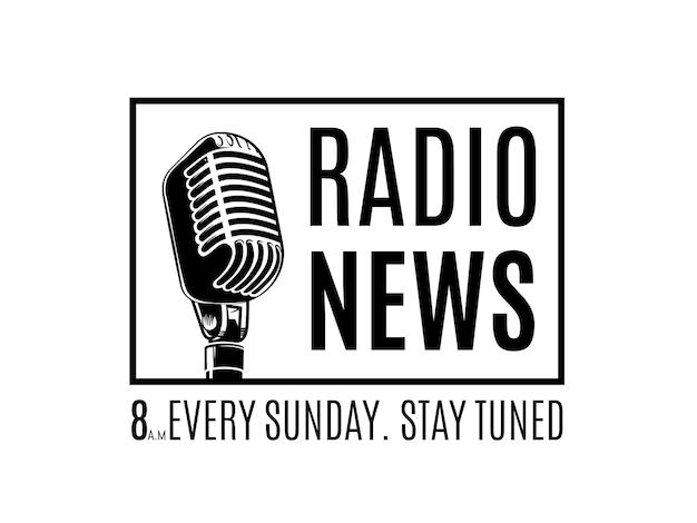 白い背景イラストを分離したフレーム内のマイクを使ってベクトルラジオニュースロゴ