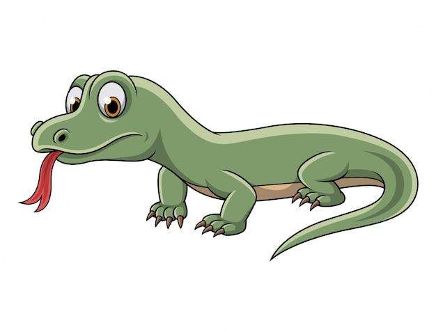 Мультяшная зеленая ящерица на белом фоне