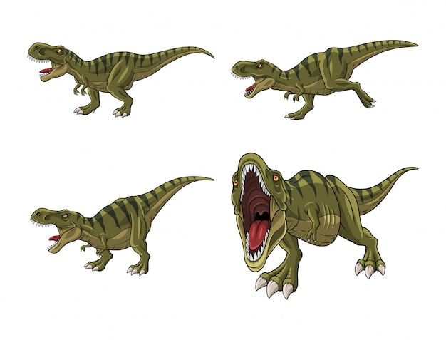 白い背景で隔離の漫画ティラノサウルスのセット
