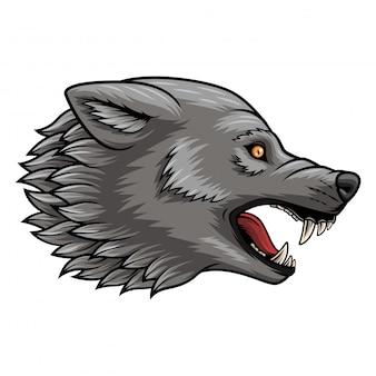 頭のオオカミマスコットのイラスト
