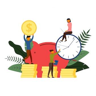 銀行の資金調達、銀行預金、キャラクターイラストの金融サービスの概念を開く