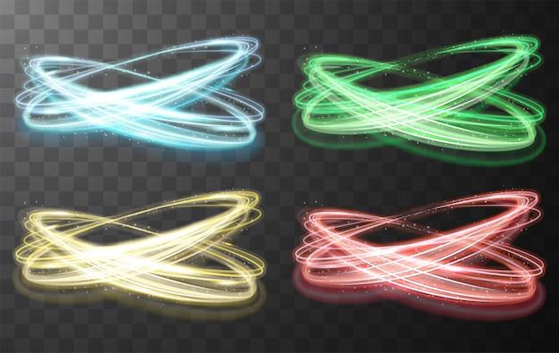 輝く光沢のあるスパイラルラインのセット抽象的な光速度と光沢のある波状のトレイル