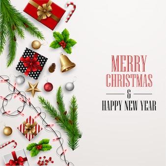 クリスマスと新年あけましておめでとうございますグリーティングカードクリスマスの装飾を持つ要素の構成。