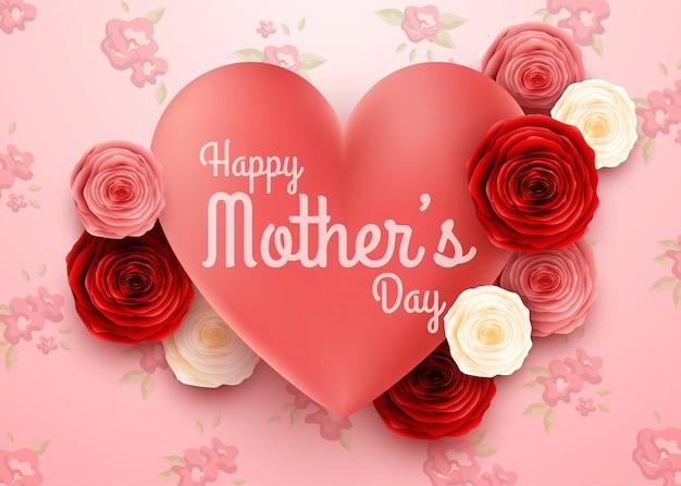 Счастливый день матери с цветами фона