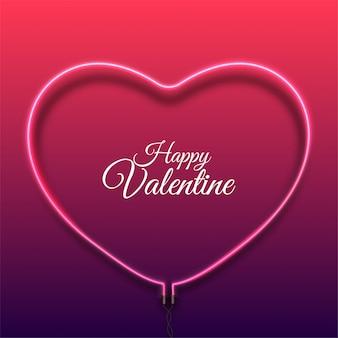 明るいピンクのベクトルネオン心と幸せなバレンタインデーの背景