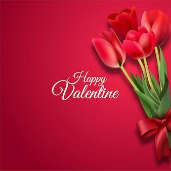 Открытка с днем святого валентина с красными розами на красном фоне