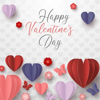 幸せなバレンタインデー紙は、白い背景でカラフルなハート形のスタイルをカット