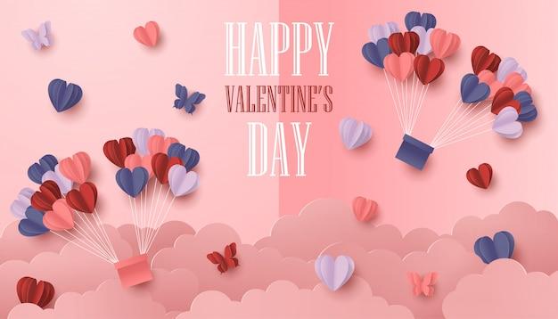 幸せなバレンタインデー紙は、ピンクの背景にカラフルなハート形のスタイルをカット