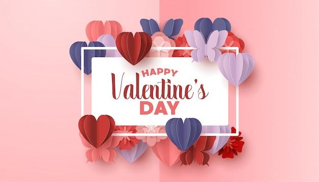 Счастливый день святого валентина вырезать из бумаги стиль с красочными формы сердца на розовом фоне