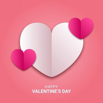 幸せなバレンタインデーの紙はピンクのカラフルなハート形のスタイルをカット