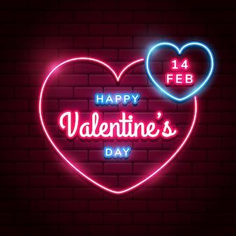 赤レンガの壁に明るいピンクのネオンハートと幸せなバレンタインデーの背景